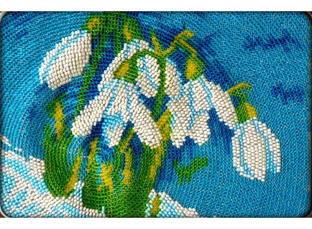 Набор вышивки бисером «Подснежники»Вышивка бисером Вышиваем бисером<br><br><br>Артикул: В-93<br>Основа: ткань<br>Размер: 12х19 см<br>Техника вышивки: вышивка бисером по спирали<br>Тип схемы вышивки: Цветная схема<br>Рисунок на канве: нанесена схема<br>Техника: Вышивка бисером