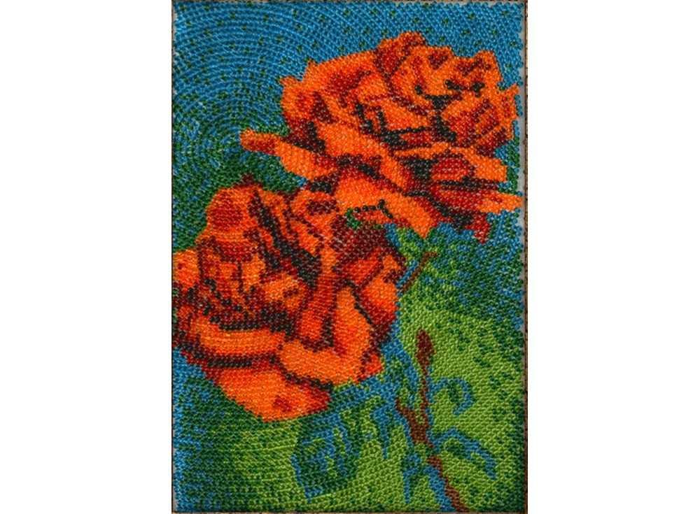 Набор вышивки бисером «Красные розы»Вышивка бисером Вышиваем бисером<br><br><br>Артикул: В-95<br>Основа: ткань<br>Размер: 12х19 см<br>Техника вышивки: вышивка бисером по спирали<br>Тип схемы вышивки: Цветная схема<br>Рисунок на канве: нанесена схема<br>Техника: Вышивка бисером