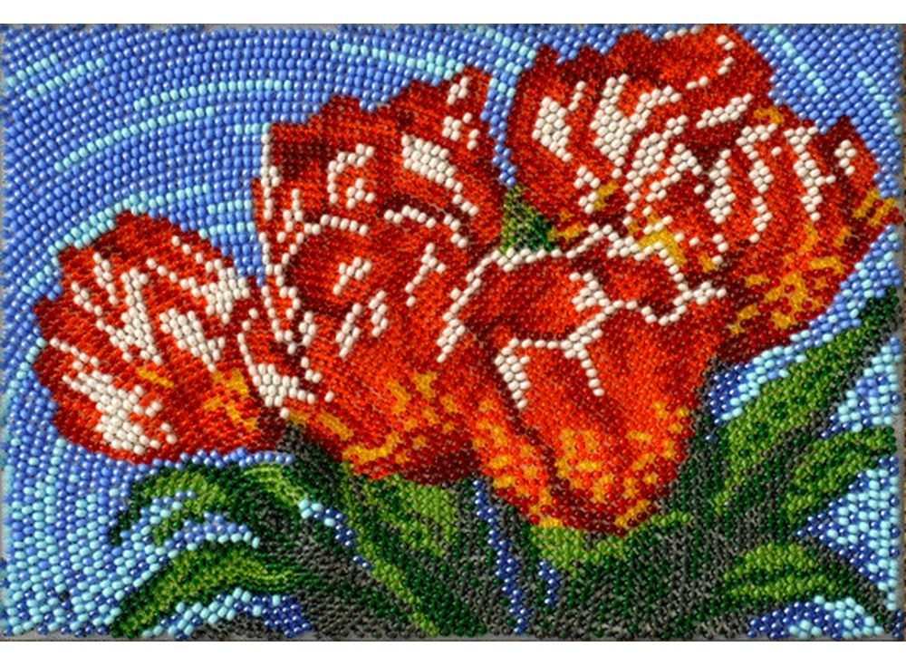 Набор вышивки бисером «Тюльпаны»Вышивка бисером Вышиваем бисером<br><br><br>Артикул: В-99<br>Основа: ткань для вышивки бисером с нанесенной схемой<br>Размер: 12х19 см<br>Техника вышивки: вышивка бисером по спирали<br>Тип схемы вышивки: Цветная схема вышивки