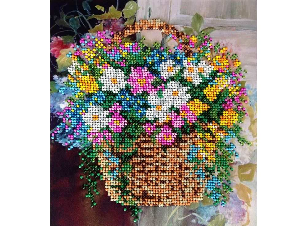 Набор вышивки бисером «Полевые цветы»Вышивка бисером FeDi<br><br><br>Артикул: КВ214<br>Основа: ткань<br>Размер: 19х21 см<br>Техника вышивки: бисер<br>Тип схемы вышивки: Цветная схема<br>Количество цветов: 14<br>Заполнение: Частичное<br>Рисунок на канве: нанесён рисунок и схема<br>Техника: Вышивка бисером