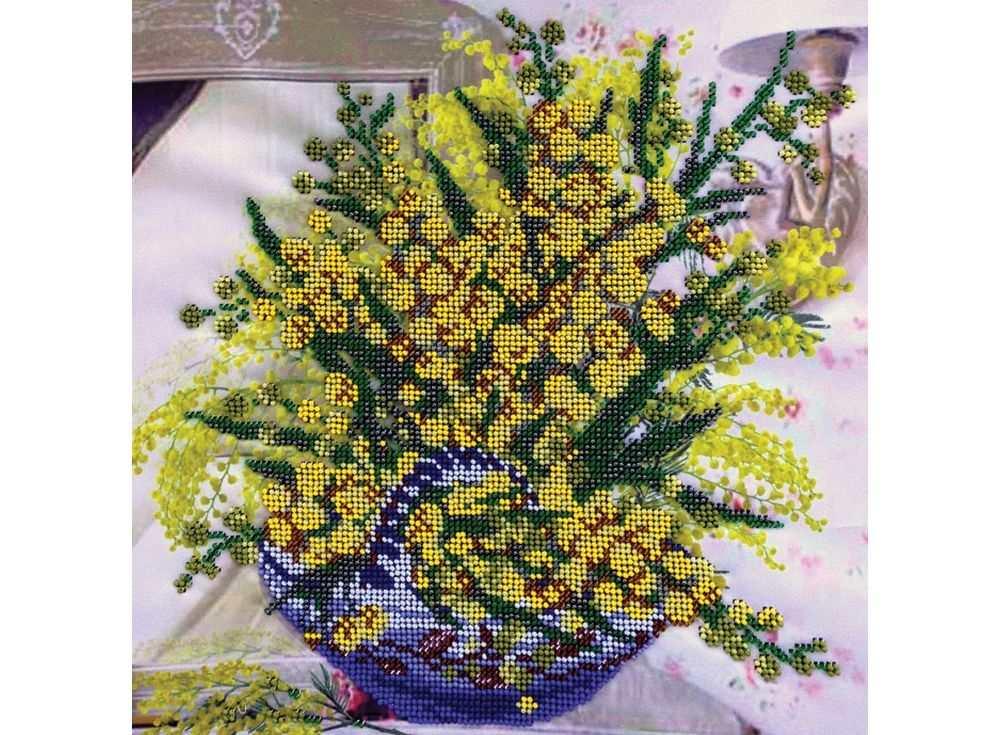 Набор вышивки бисером «Мимоза»Вышивка бисером FeDi<br><br><br>Артикул: КВ509<br>Основа: ткань<br>Размер: 30х30 см<br>Техника вышивки: бисер<br>Тип схемы вышивки: Цветная схема<br>Количество цветов: 13<br>Заполнение: Частичное<br>Рисунок на канве: нанесён рисунок и схема<br>Техника: Вышивка бисером
