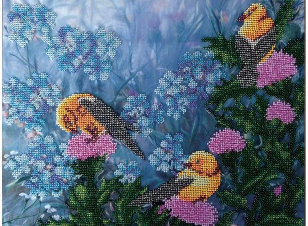 Набор вышивки бисером «Птички»Вышивка бисером FeDi<br><br><br>Артикул: КВ520<br>Основа: ткань<br>Размер: 29х39 см<br>Техника вышивки: бисер<br>Тип схемы вышивки: Цветная схема<br>Количество цветов: 16<br>Заполнение: Частичное<br>Рисунок на канве: нанесён рисунок и схема<br>Техника: Вышивка бисером