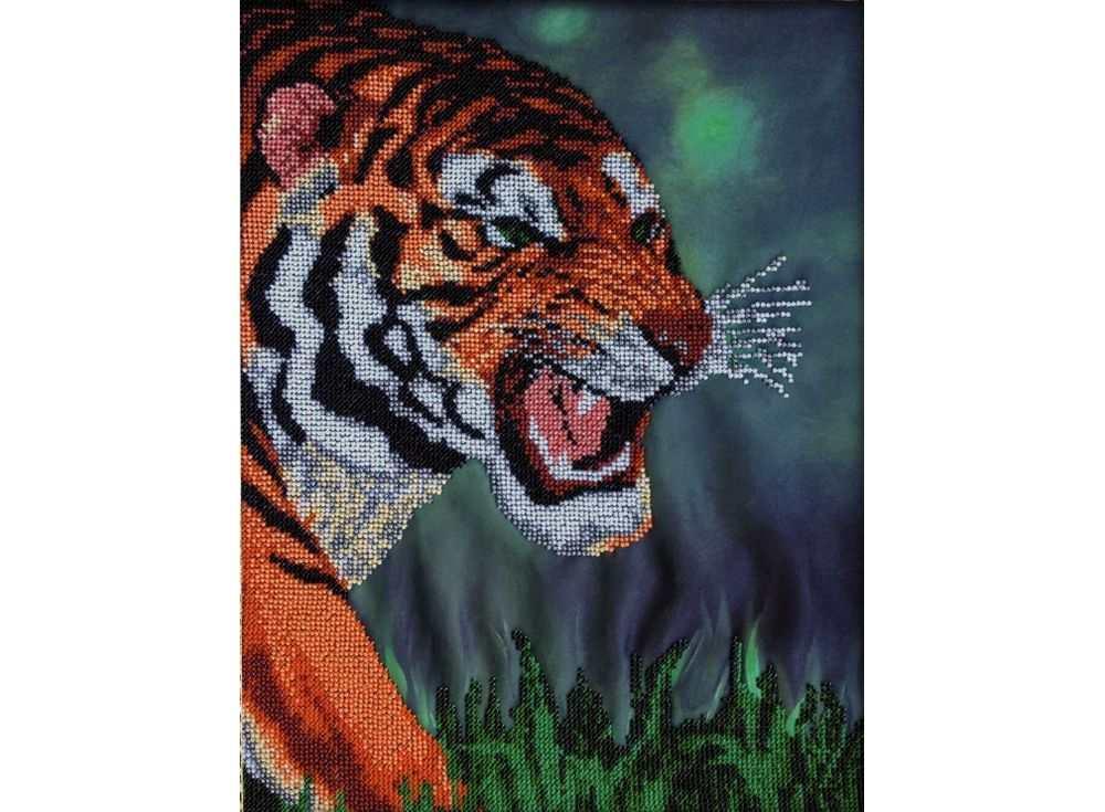Набор вышивки бисером «Тигр»Вышивка бисером FeDi<br><br><br>Артикул: КВ604<br>Основа: ткань<br>Размер: 30х37 см<br>Техника вышивки: бисер<br>Тип схемы вышивки: Цветная схема<br>Количество цветов: 11<br>Заполнение: Частичное<br>Рисунок на канве: нанесён рисунок и схема<br>Техника: Вышивка бисером