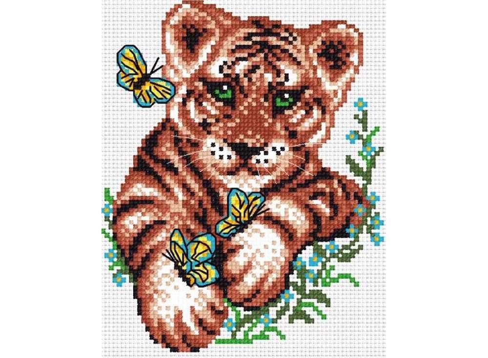 Набор для вышивания «Тигрёнок и бабочки»Вышивка крестом МП-студия<br><br><br>Артикул: НВ-120<br>Основа: канва Aida 14<br>Размер: 15х18 см<br>Техника вышивки: счетный крест<br>Тип схемы вышивки: Цветная схема<br>Цвет канвы: Белый<br>Количество цветов: 10<br>Рисунок на канве: не нанесён<br>Техника: Вышивка крестом