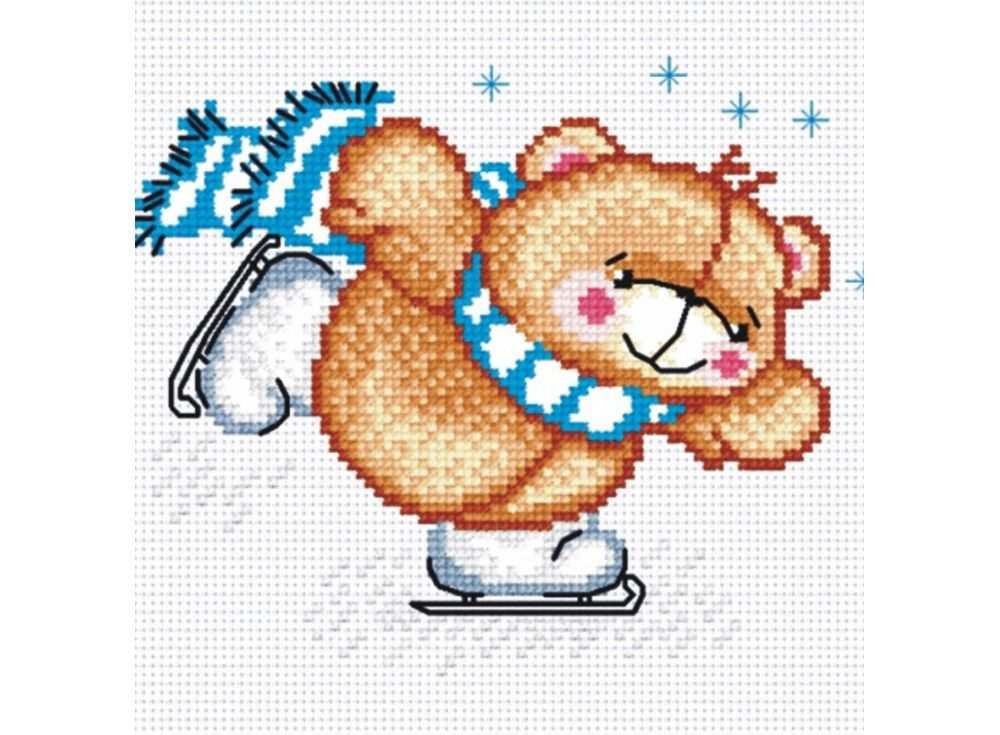 Набор для вышивания «Мишка на коньках»Вышивка крестом МП-студия<br><br><br>Артикул: НВ-135<br>Основа: канва Aida 14<br>Размер: 18х15 см<br>Техника вышивки: счетный крест<br>Тип схемы вышивки: Цветная схема<br>Цвет канвы: Белый<br>Количество цветов: 11<br>Рисунок на канве: не нанесён<br>Техника: Вышивка крестом
