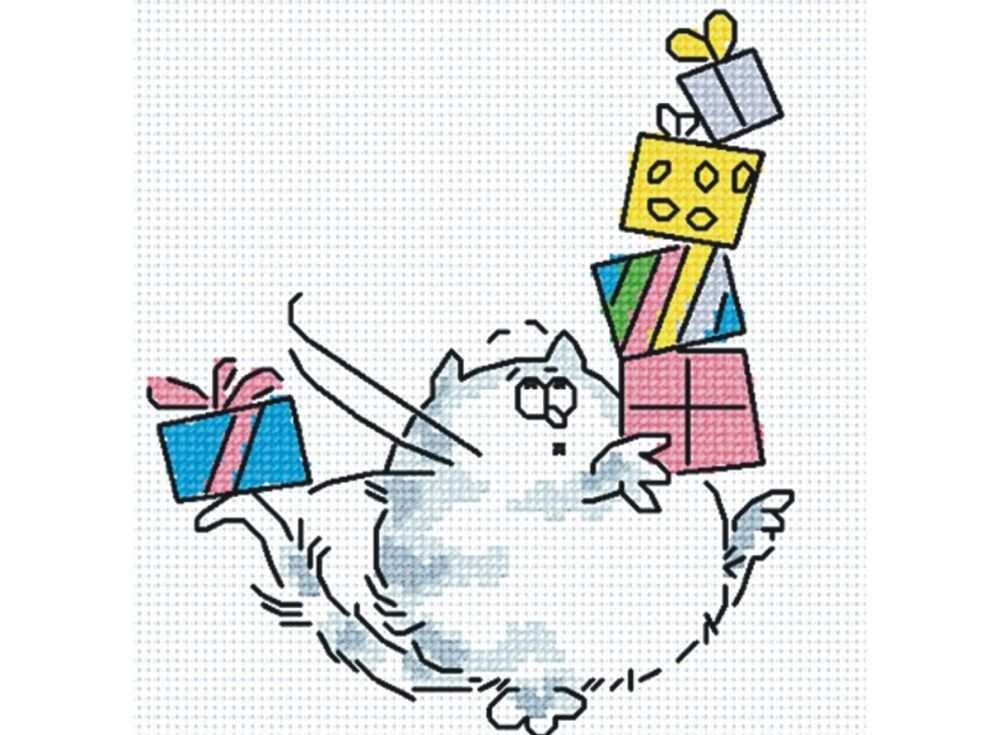 Набор для вышивания «Кот с подарками»Вышивка крестом МП-студия<br><br><br>Артикул: НВ-148<br>Основа: канва Aida 14<br>Размер: 15х17 см<br>Техника вышивки: счетный крест<br>Тип схемы вышивки: Цветная схема<br>Цвет канвы: Белый<br>Количество цветов: 8<br>Рисунок на канве: не нанесён<br>Техника: Вышивка крестом