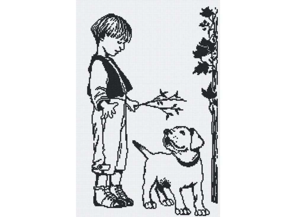 Набор для вышивания «Мальчик с собакой»Вышивка крестом МП-студия<br><br><br>Артикул: НВ-155<br>Основа: канва Aida 14<br>Размер: 31х46 см<br>Техника вышивки: счетный крест<br>Тип схемы вышивки: Цветная схема<br>Цвет канвы: Белый<br>Количество цветов: 1<br>Рисунок на канве: не нанесён<br>Техника: Вышивка крестом