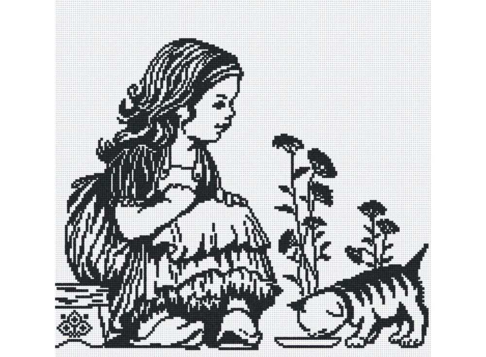 Набор для вышивания «Девочка с котенком»Вышивка крестом МП-студия<br><br><br>Артикул: НВ-156<br>Основа: канва Aida 14<br>Размер: 35х31 см<br>Техника вышивки: счетный крест<br>Тип схемы вышивки: Цветная схема<br>Цвет канвы: Белый<br>Количество цветов: 1<br>Рисунок на канве: не нанесён<br>Техника: Вышивка крестом