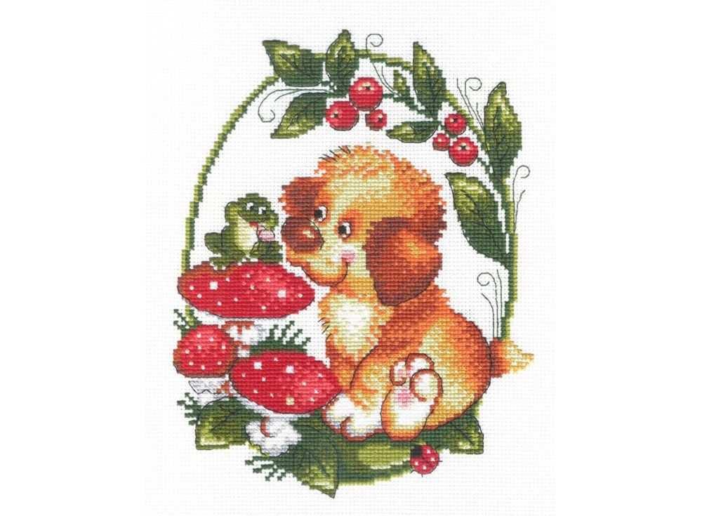 Набор для вышивания «Собачка с лягушкой»Вышивка крестом МП-студия<br><br><br>Артикул: НВ-215<br>Основа: канва Aida 14<br>Размер: 25x20 см<br>Техника вышивки: счетный крест<br>Тип схемы вышивки: Цветная схема<br>Цвет канвы: Белый<br>Количество цветов: 15<br>Рисунок на канве: не нанесён<br>Техника: Вышивка крестом
