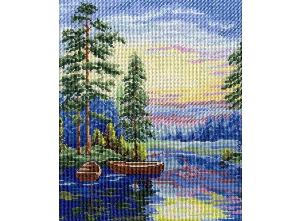 Набор для вышивания «Лесное озеро»Вышивка крестом МП-студия<br><br><br>Артикул: НВ-344<br>Основа: канва Aida 14<br>Размер: 30х25 см<br>Техника вышивки: счетный крест<br>Тип схемы вышивки: Цветная схема<br>Цвет канвы: Белый<br>Количество цветов: 22<br>Рисунок на канве: не нанесён<br>Техника: Вышивка крестом