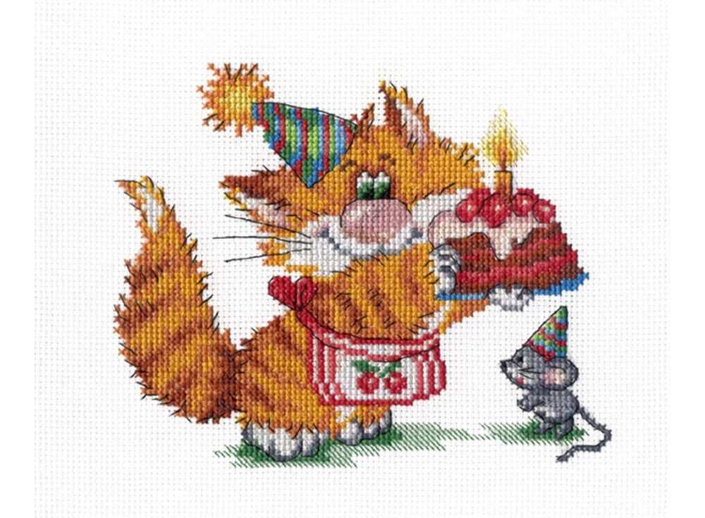 Набор для вышивания «Рыжий кот. День рождения»Вышивка крестом МП-студия<br><br><br>Артикул: НВ-352<br>Основа: канва Aida 14<br>Размер: 15х20 см<br>Техника вышивки: счетный крест<br>Тип схемы вышивки: Цветная схема<br>Цвет канвы: Белый<br>Количество цветов: 18<br>Рисунок на канве: не нанесён<br>Техника: Вышивка крестом
