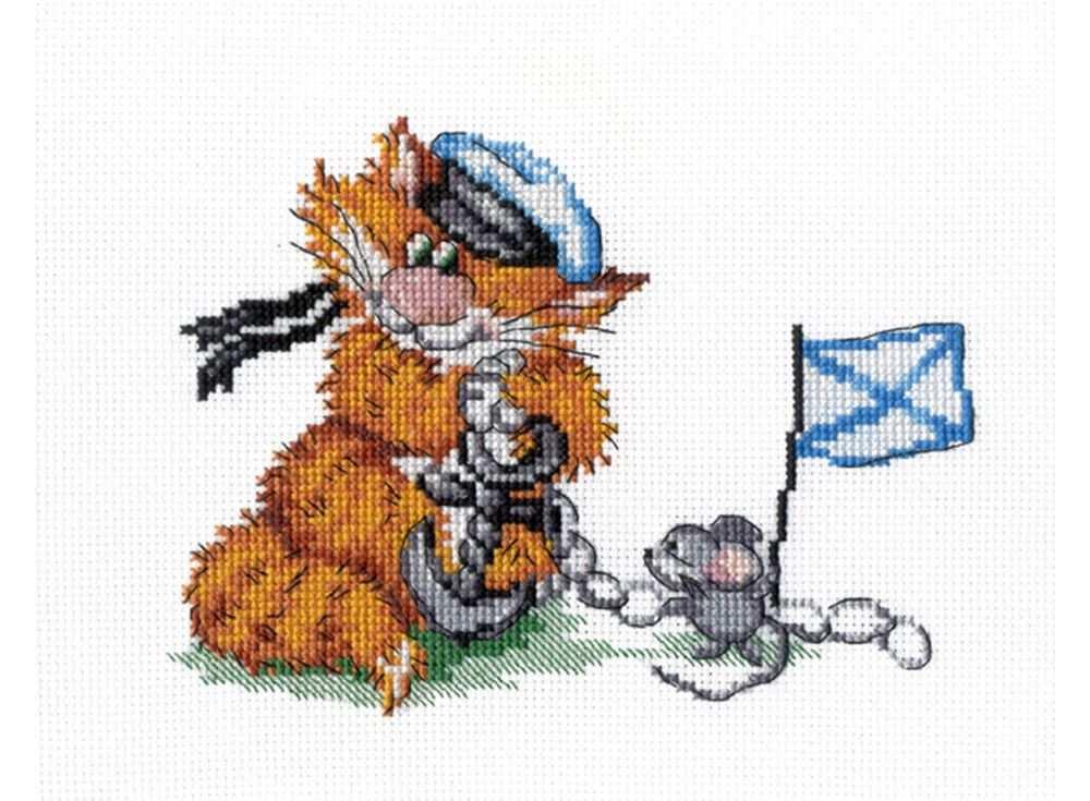 Набор для вышивания «Рыжий кот. Морской Волк»Вышивка крестом МП-студия<br><br><br>Артикул: НВ-356<br>Основа: канва Aida 14<br>Размер: 15х20 см<br>Техника вышивки: счетный крест<br>Тип схемы вышивки: Цветная схема<br>Цвет канвы: Белый<br>Количество цветов: 19<br>Рисунок на канве: не нанесён<br>Техника: Вышивка крестом