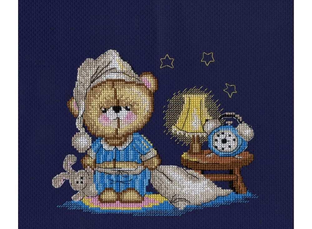 Набор для вышивания «Мишка - соня»Вышивка крестом МП-студия<br><br><br>Артикул: НВ-358<br>Основа: канва Aida 14<br>Размер: 15х20 см<br>Техника вышивки: счетный крест<br>Тип схемы вышивки: Цветная схема<br>Цвет канвы: Синий<br>Количество цветов: 14<br>Рисунок на канве: не нанесён<br>Техника: Вышивка крестом