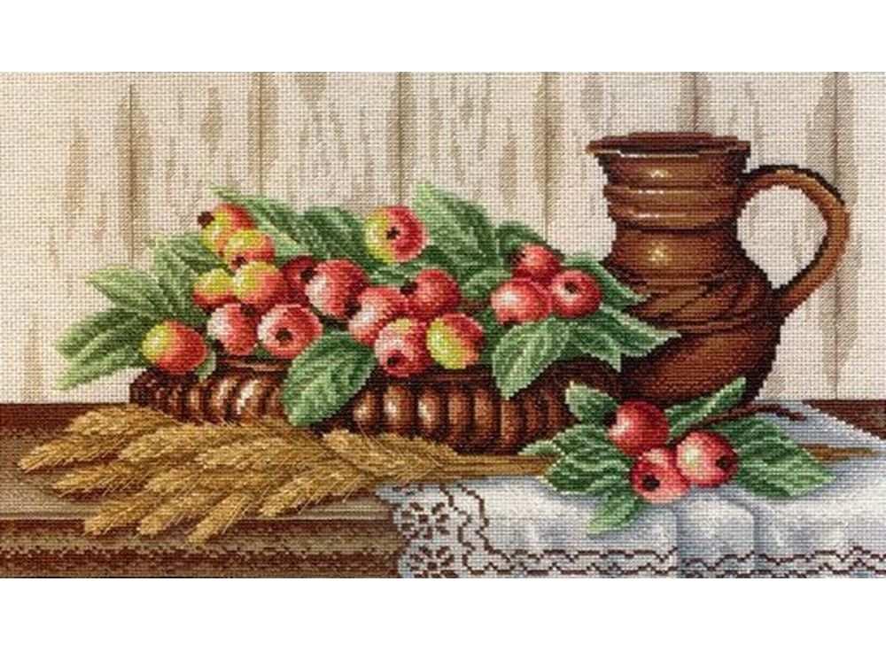 Набор для вышивания «Натюрморт с райскими яблочками»Вышивка крестом МП-студия<br><br><br>Артикул: НВ-368<br>Основа: канва Aida 14<br>Размер: 42х24 см<br>Техника вышивки: счетный крест<br>Тип схемы вышивки: Цветная схема вышивки<br>Цвет канвы: Льняной<br>Количество цветов: 33
