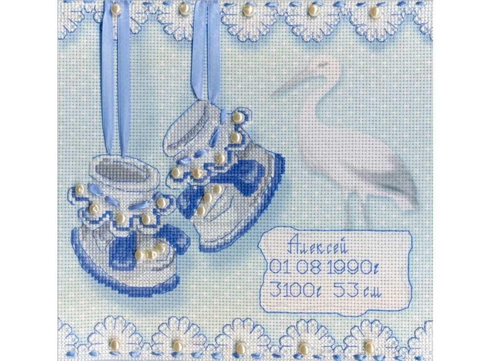 Набор для вышивания «На рождение мальчика»Вышивка крестом МП-студия<br><br><br>Артикул: РК-314<br>Основа: канва Aida 14<br>Размер: 20х20 см<br>Техника вышивки: счетный крест<br>Тип схемы вышивки: Цветная схема<br>Количество цветов: 6<br>Рисунок на канве: тонированная канва с нанесённым фоном<br>Техника: Вышивка крестом