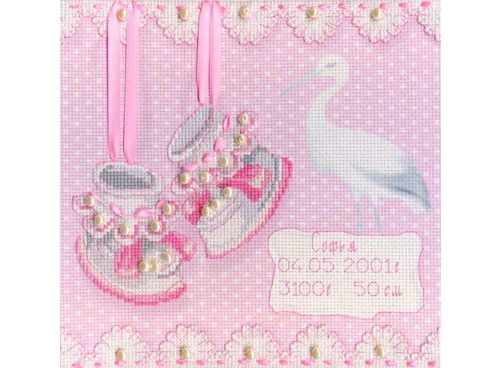 Набор для вышивания «На рождение девочки»Вышивка крестом МП-студия<br><br><br>Артикул: РК-315<br>Основа: канва Aida 14<br>Размер: 20x20 см<br>Техника вышивки: счетный крест<br>Тип схемы вышивки: Цветная схема<br>Количество цветов: 6<br>Рисунок на канве: тонированная канва с нанесённым фоном<br>Техника: Вышивка крестом