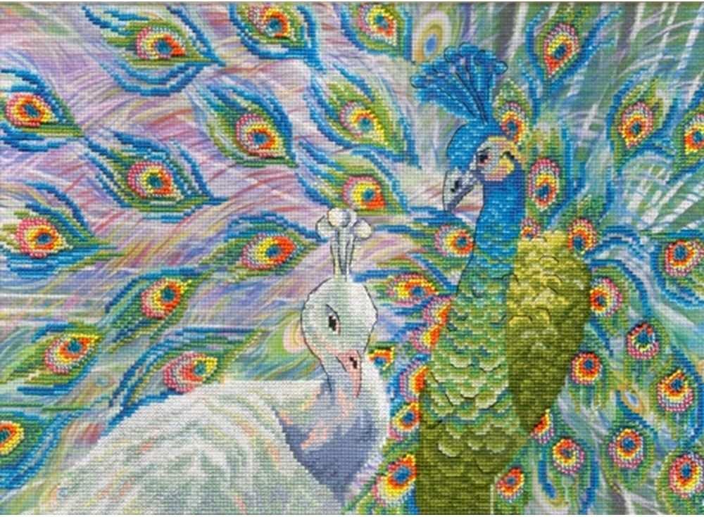 Набор для вышивания «Павлины»Вышивка крестом МП-студия<br><br><br>Артикул: РК-335<br>Основа: канва Aida 14<br>Размер: 25х35 см<br>Техника вышивки: счетный крест<br>Тип схемы вышивки: Цветная схема<br>Количество цветов: 20<br>Рисунок на канве: тонированная канва с нанесённым фоном<br>Техника: Вышивка крестом