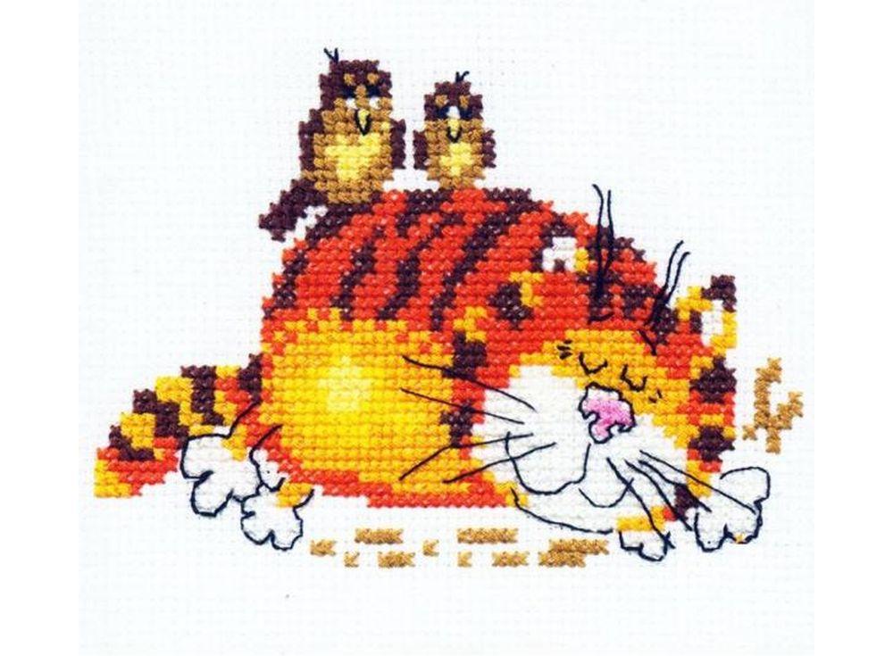Набор для вышивания «Ленивый кот»Вышивка крестом Алиса<br><br><br>Артикул: 0-01<br>Основа: канва Aida 14 100% хлопок Gamma<br>Размер: 11х9 см<br>Тип схемы вышивки: Цветная схема<br>Цвет канвы: Белый<br>Количество цветов: 9<br>Рисунок на канве: не нанесён<br>Нитки: мулине 100% хлопок Gamma
