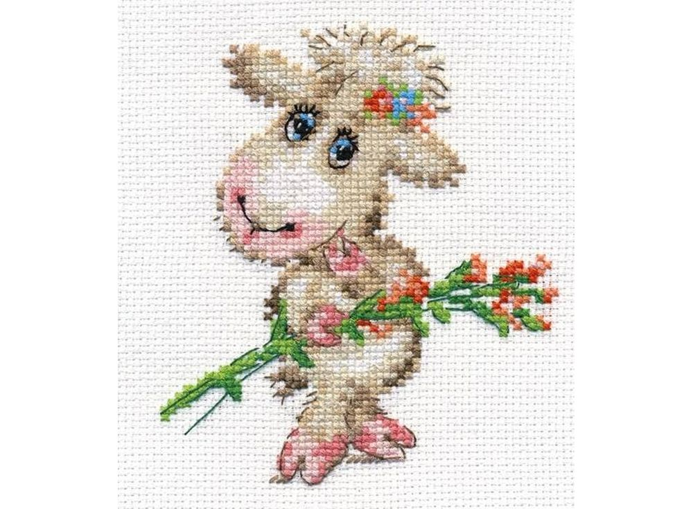 Набор для вышивания «Милая овечка»Вышивка крестом Алиса<br><br><br>Артикул: 0-105<br>Основа: канва Aida 14 100% хлопок Gamma<br>Размер: 10x12 см<br>Тип схемы вышивки: Цветная схема<br>Цвет канвы: Белый<br>Количество цветов: 14<br>Рисунок на канве: не нанесён<br>Техника: Вышивка крестом<br>Нитки: мулине 100% хлопок Gamma