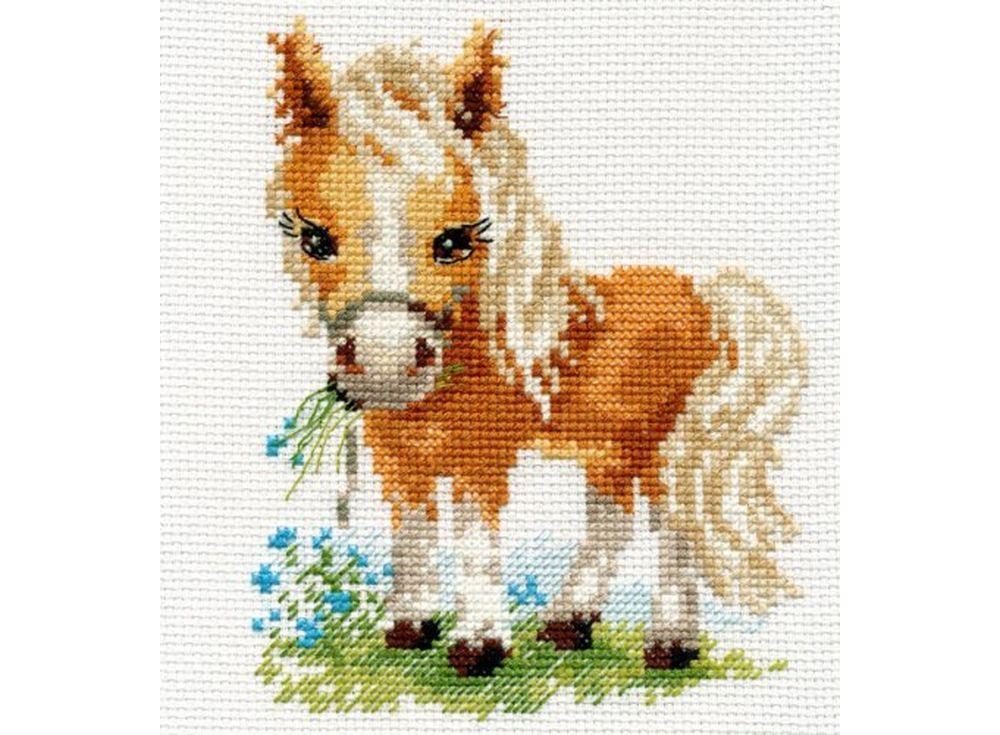 Набор для вышивания «Белогривая лошадка»Вышивка крестом Алиса<br><br><br>Артикул: 0-114<br>Основа: канва Aida 14 100% хлопок Gamma<br>Размер: 12х14 см<br>Тип схемы вышивки: Цветная схема<br>Цвет канвы: Белый<br>Количество цветов: 16<br>Рисунок на канве: не нанесён<br>Нитки: мулине 100% хлопок Gamma