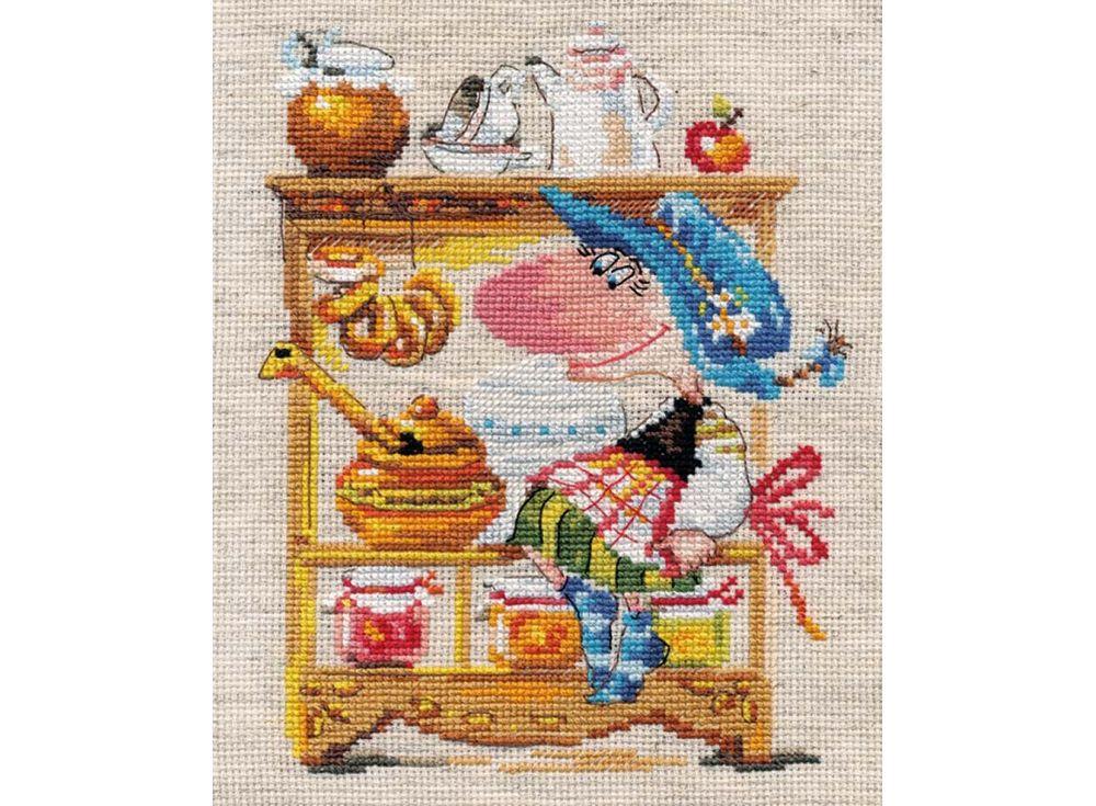 Набор для вышивания «Медовая кладовушка»Вышивка крестом Алиса<br><br><br>Артикул: 0-128<br>Основа: канва лен 6 клеточек в 1см<br>Размер: 25х19 см<br>Тип схемы вышивки: Цветная схема<br>Цвет канвы: Льняной<br>Количество цветов: 27<br>Рисунок на канве: не нанесён<br>Техника: Вышивка крестом<br>Нитки: мулине 100% хлопок Gamma