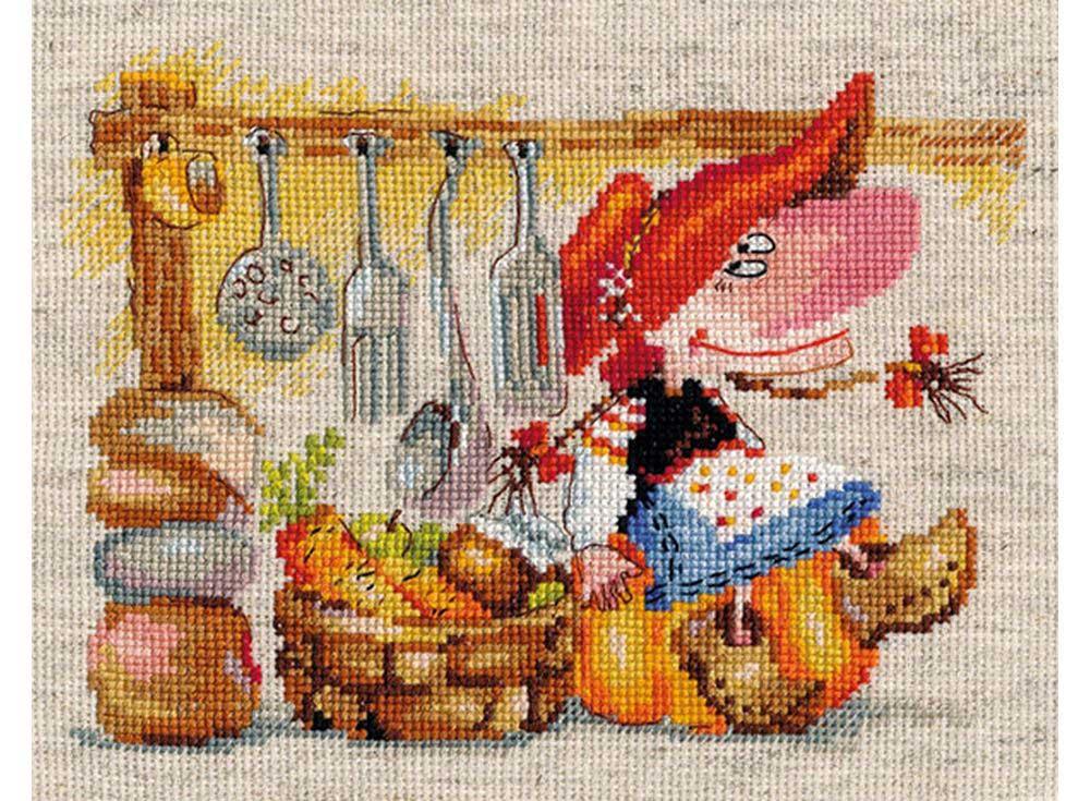 Набор для вышивания «Овощная кладовушка»Вышивка крестом Алиса<br><br><br>Артикул: 0-129<br>Основа: канва лен 6 клеточек в 1см<br>Размер: 19x15 см<br>Тип схемы вышивки: Цветная схема<br>Цвет канвы: Льняной<br>Количество цветов: 26<br>Рисунок на канве: не нанесён<br>Техника: Вышивка крестом<br>Нитки: мулине 100% хлопок Gamma
