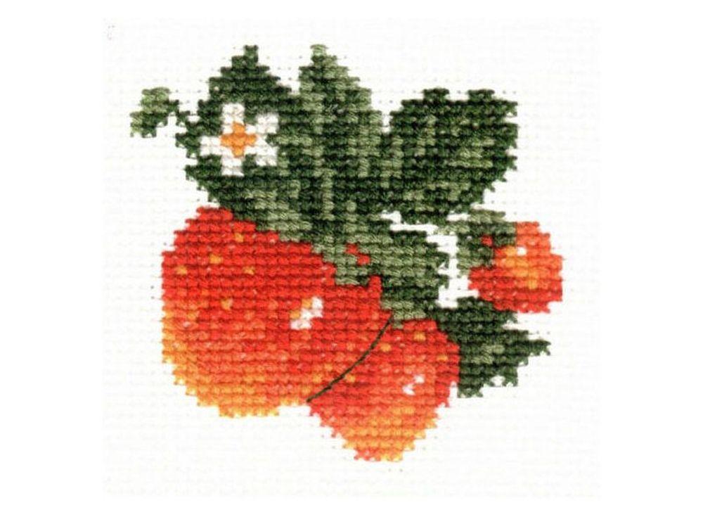 Набор для вышивания «Клубничка»Вышивка крестом Алиса<br><br><br>Артикул: 0-21<br>Основа: канва Aida 14 100% хлопок Gamma<br>Размер: 7х7 см<br>Тип схемы вышивки: Цветная схема<br>Цвет канвы: Белый<br>Количество цветов: 6<br>Рисунок на канве: не нанесён<br>Техника: Вышивка крестом<br>Нитки: мулине 100% хлопок Gamma