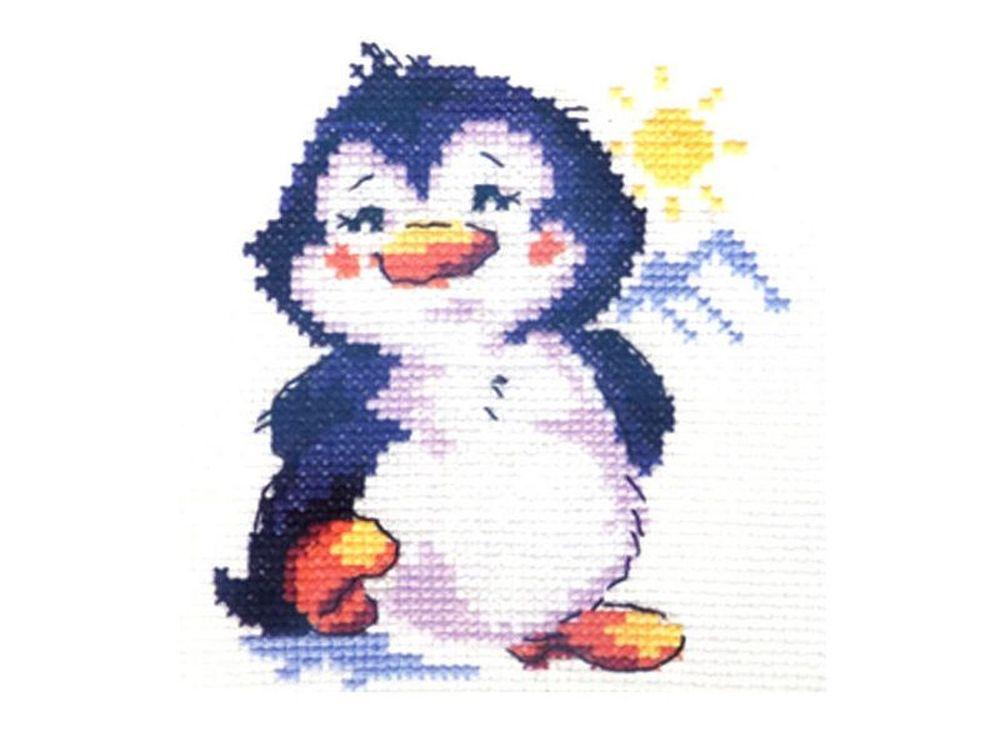 Набор для вышивания «Пингвиненок»Вышивка крестом Алиса<br><br><br>Артикул: 0-32<br>Основа: канва Aida 14 100% хлопок Gamma<br>Размер: 9x11 см<br>Тип схемы вышивки: Цветная схема<br>Цвет канвы: Белый<br>Количество цветов: 9<br>Рисунок на канве: не нанесён<br>Техника: Вышивка крестом<br>Нитки: мулине 100% хлопок Gamma