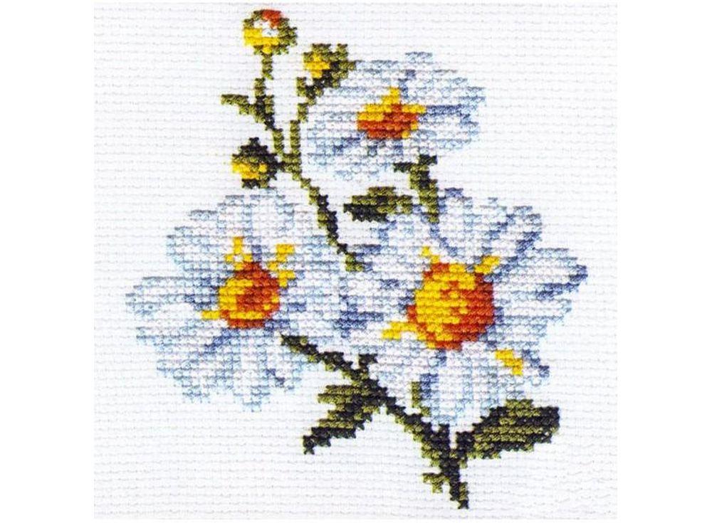 Набор для вышивания «Ромашки»Вышивка крестом Алиса<br><br><br>Артикул: 0-42<br>Основа: канва Aida 14 100% хлопок Gamma<br>Размер: 10х11 см<br>Тип схемы вышивки: Цветная схема<br>Цвет канвы: Белый<br>Количество цветов: 8<br>Рисунок на канве: не нанесён<br>Техника: Вышивка крестом<br>Нитки: мулине 100% хлопок Gamma