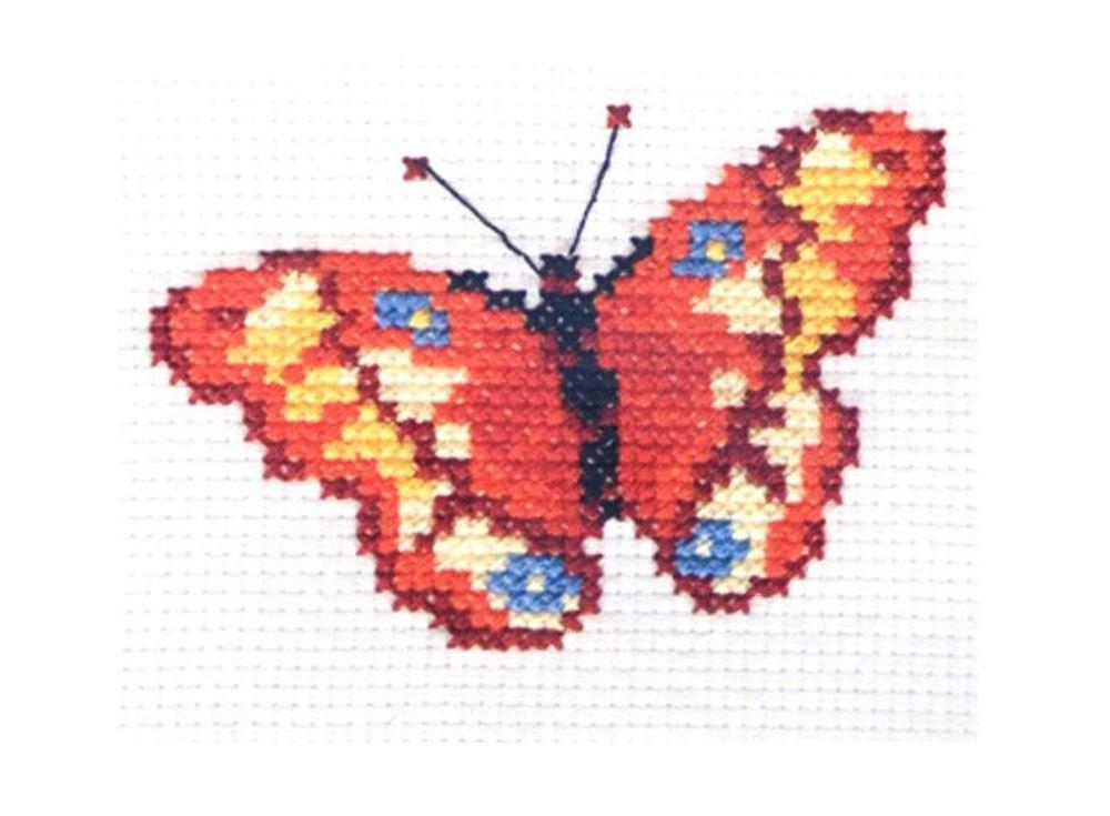 Набор для вышивания «Бабочка»Вышивка крестом Алиса<br><br><br>Артикул: 0-43<br>Основа: канва Aida 11 100% хлопок Gamma<br>Размер: 10х7 см<br>Тип схемы вышивки: Цветная схема вышивки<br>Цвет канвы: Белый<br>Количество цветов: 7