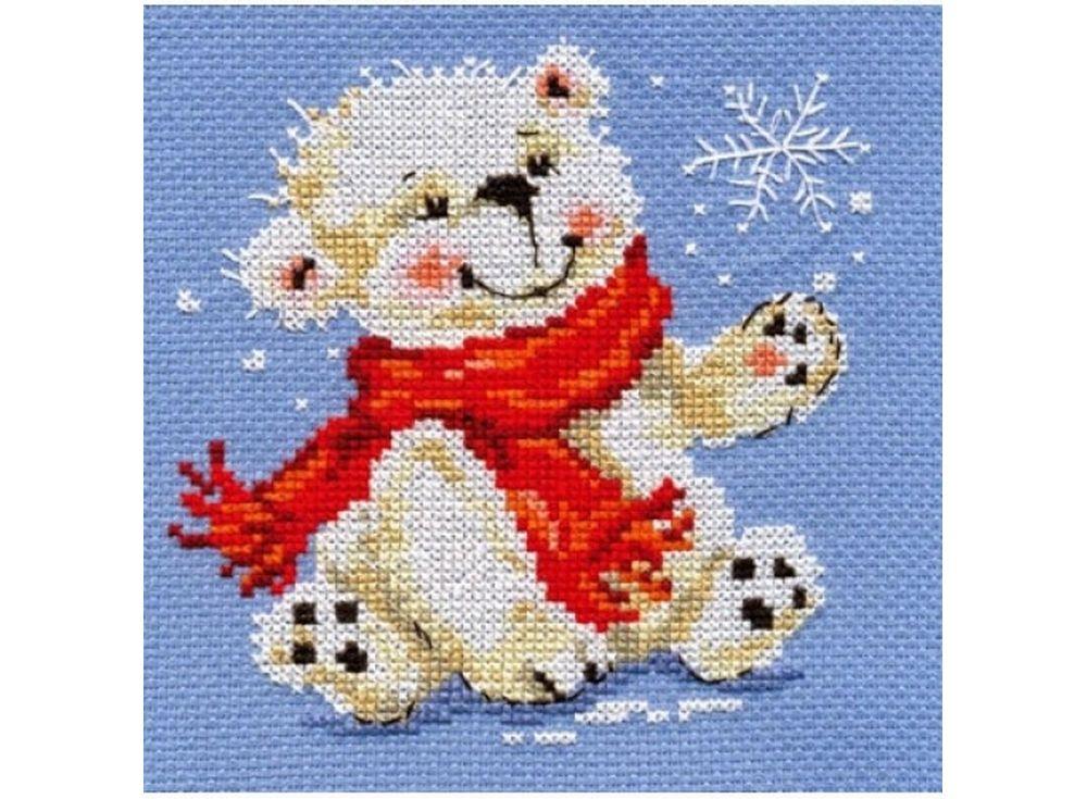 Набор для вышивания «Белый медвежонок»Вышивка крестом Алиса<br><br><br>Артикул: 0-53<br>Основа: канва Aida 14 100% хлопок Gamma<br>Размер: 12х13 см<br>Тип схемы вышивки: Цветная схема<br>Цвет канвы: Голубой<br>Количество цветов: 11<br>Рисунок на канве: не нанесён<br>Нитки: мулине 100% хлопок Gamma