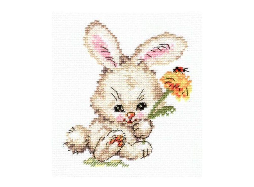 Набор для вышивания «Зайка»Вышивка крестом Алиса<br><br><br>Артикул: 0-58<br>Основа: канва Aida 14 100% хлопок Gamma<br>Размер: 10x12 см<br>Тип схемы вышивки: Цветная схема<br>Цвет канвы: Белый<br>Количество цветов: 12<br>Рисунок на канве: не нанесён<br>Техника: Вышивка крестом<br>Нитки: мулине 100% хлопок Gamma