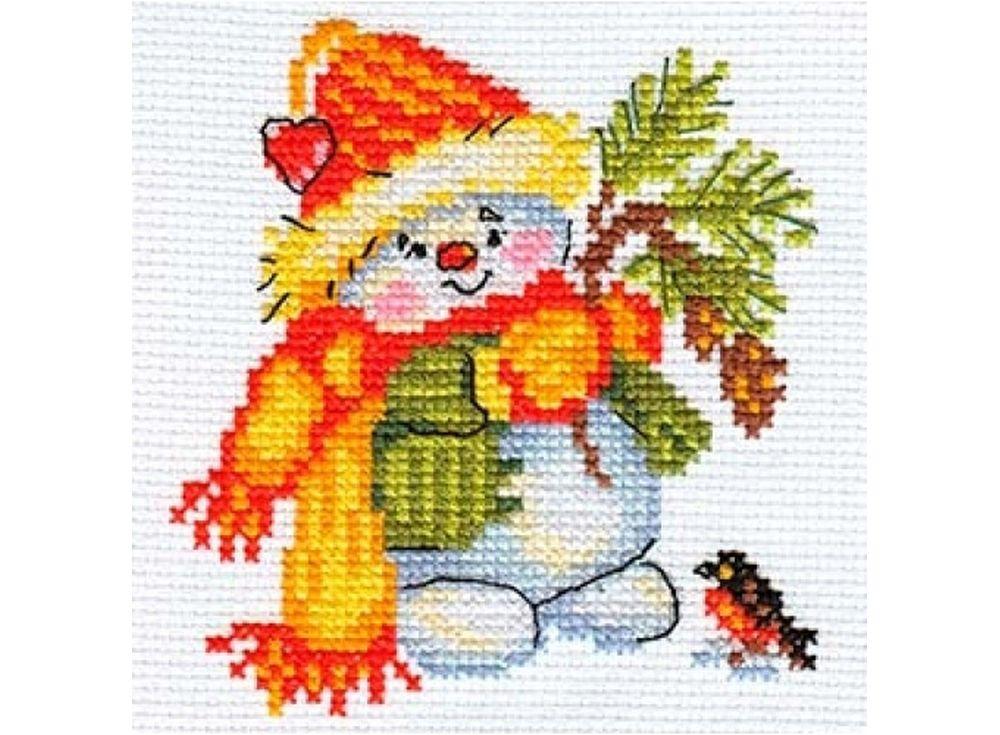 Набор для вышивания «Снеговик»Вышивка крестом Алиса<br><br><br>Артикул: 0-59<br>Основа: канва Aida 14 100% хлопок Gamma<br>Размер: 10х10 см<br>Тип схемы вышивки: Цветная схема<br>Цвет канвы: Белый<br>Количество цветов: 13<br>Рисунок на канве: не нанесён<br>Техника: Вышивка крестом<br>Нитки: мулине 100% хлопок Gamma