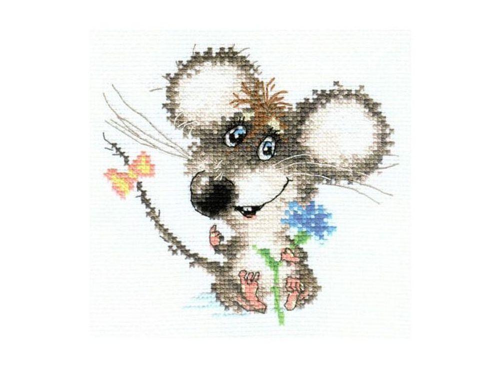 Набор для вышивания «Влюбленный мышонок»Вышивка крестом Алиса<br><br><br>Артикул: 0-77<br>Основа: канва Aida 14 100% хлопок Gamma<br>Размер: 13х12 см<br>Тип схемы вышивки: Цветная схема<br>Цвет канвы: Белый<br>Количество цветов: 16<br>Рисунок на канве: не нанесён<br>Техника: Вышивка крестом<br>Нитки: мулине 100% хлопок Gamma