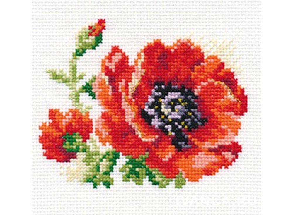 Набор для вышивания «Мак»Вышивка крестом Алиса<br><br><br>Артикул: 0-80<br>Основа: канва Aida 14 100% хлопок Gamma<br>Размер: 11х10 см<br>Тип схемы вышивки: Цветная схема<br>Цвет канвы: Белый<br>Количество цветов: 13<br>Рисунок на канве: не нанесён<br>Техника: Вышивка крестом<br>Нитки: мулине 100% хлопок Gamma