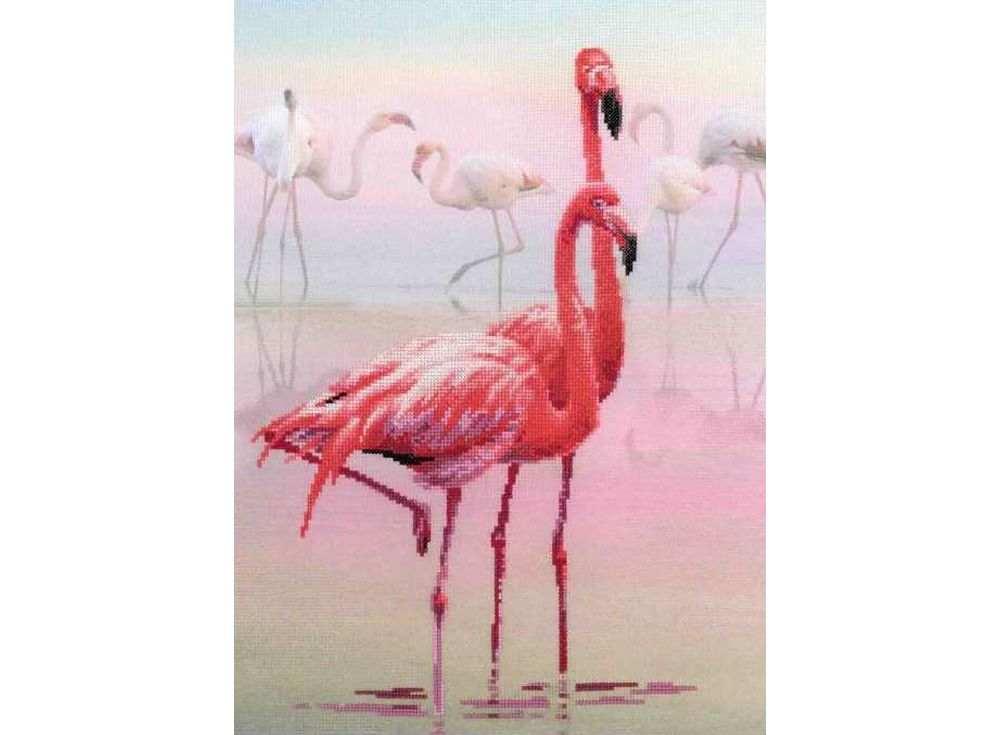 Набор для вышивания «Фламинго»Вышивка крестом Риолис<br><br><br>Артикул: 0012 РТ<br>Основа: канва 14 Aida Zweigart<br>Размер: 30x40 см<br>Техника вышивки: счетный крест<br>Серия: Риолис (Сотвори Сама)<br>Тип схемы вышивки: Цветная схема<br>Цвет канвы: Нанесенный фон<br>Количество цветов: 14<br>Художник, дизайнер: Галина Скабеева<br>Заполнение: Частичное<br>Рисунок на канве: нанесён фон<br>Техника: Вышивка крестом