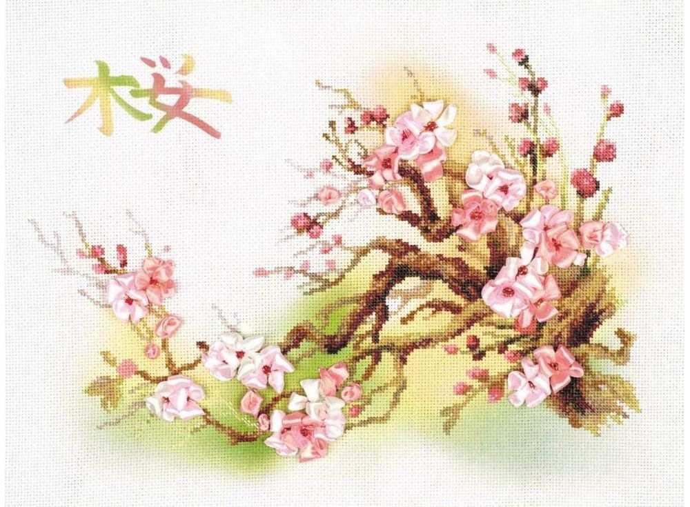 Набор для вышивания «Ветка сакуры»Вышивка смешанной техникой Риолис<br><br>