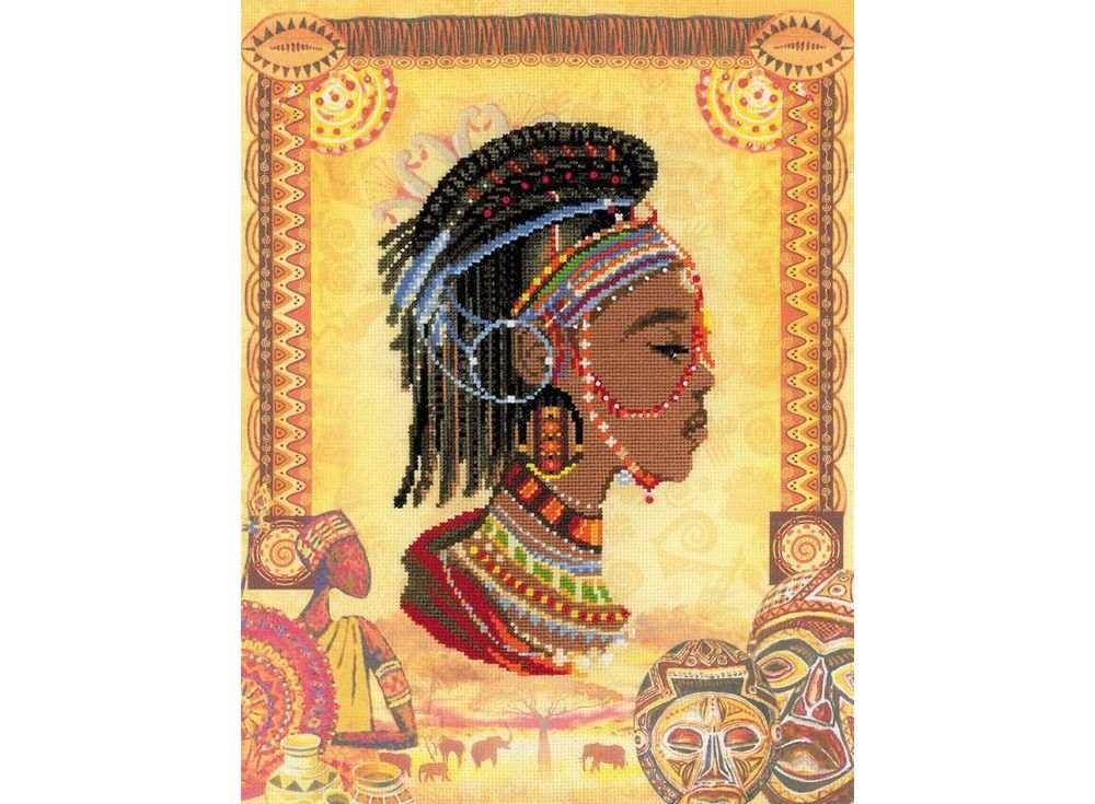 Набор для вышивания «Африканская принцесса»Вышивка крестом Риолис<br><br><br>Артикул: 0047 РТ<br>Основа: канва 14 Aida Zweigart<br>Размер: 30х40 см<br>Техника вышивки: счетный крест<br>Серия: Риолис (Сотвори Сама)<br>Тип схемы вышивки: Цветная схема<br>Цвет канвы: Нанесенный фон<br>Количество цветов: Мулине: 19 цветов, бисер: 2 цвета<br>Художник, дизайнер: Алина Мелентьева<br>Заполнение: Частичное<br>Рисунок на канве: нанесён фон<br>Техника: Вышивка крестом