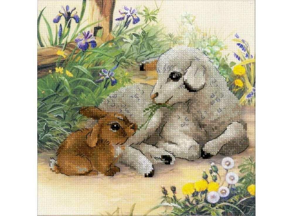 Набор для вышивания «Ягненок и кролик»Вышивка крестом Риолис<br><br><br>Артикул: 0051 РТ<br>Основа: канва 10 Aida Zweigart с нанесенным фоном<br>Размер: 30х30 см<br>Техника вышивки: счетный крест<br>Серия: Риолис (Сотвори Сама)<br>Тип схемы вышивки: Цветная схема<br>Цвет канвы: Нанесенный фон<br>Количество цветов: 19<br>Художник, дизайнер: Александра Гусарова<br>Заполнение: Частичное<br>Рисунок на канве: нанесён фон<br>Техника: Вышивка крестом
