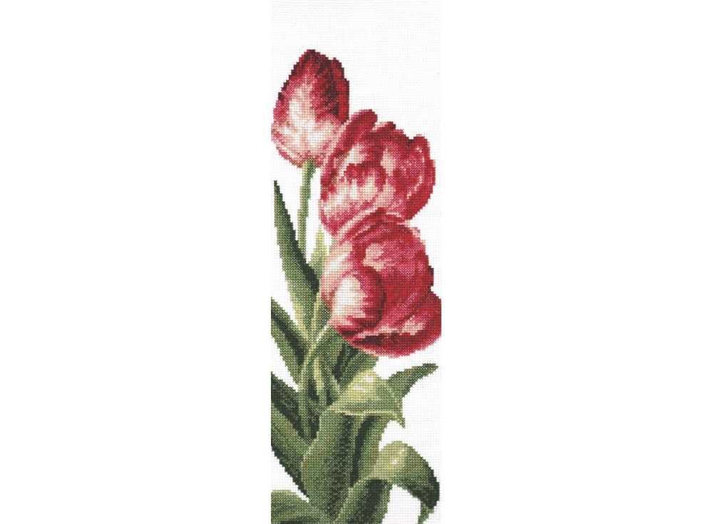 Набор для вышивания «Тюльпаны»Вышивка крестом Палитра<br><br><br>Артикул: 01.008<br>Основа: канва Aida 14<br>Размер: 13x35 см<br>Техника вышивки: счетный крест<br>Тип схемы вышивки: Цветная схема<br>Цвет канвы: Белый<br>Количество цветов: 18<br>Рисунок на канве: не нанесён<br>Техника: Вышивка крестом