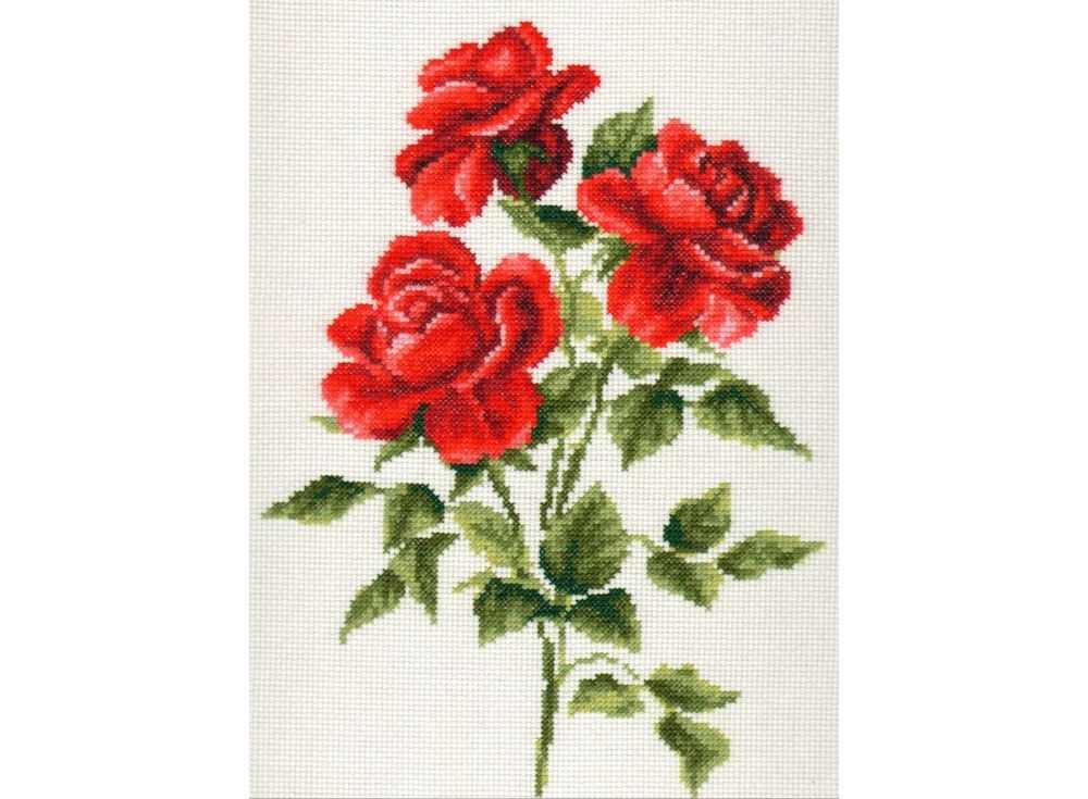 Набор для вышивания «Три розы»Вышивка крестом Палитра<br><br><br>Артикул: 01.009<br>Основа: канва Aida 14<br>Размер: 20x27 см<br>Техника вышивки: счетный крест<br>Тип схемы вышивки: Цветная схема<br>Цвет канвы: Белый<br>Количество цветов: 13<br>Рисунок на канве: не нанесён<br>Техника: Вышивка крестом