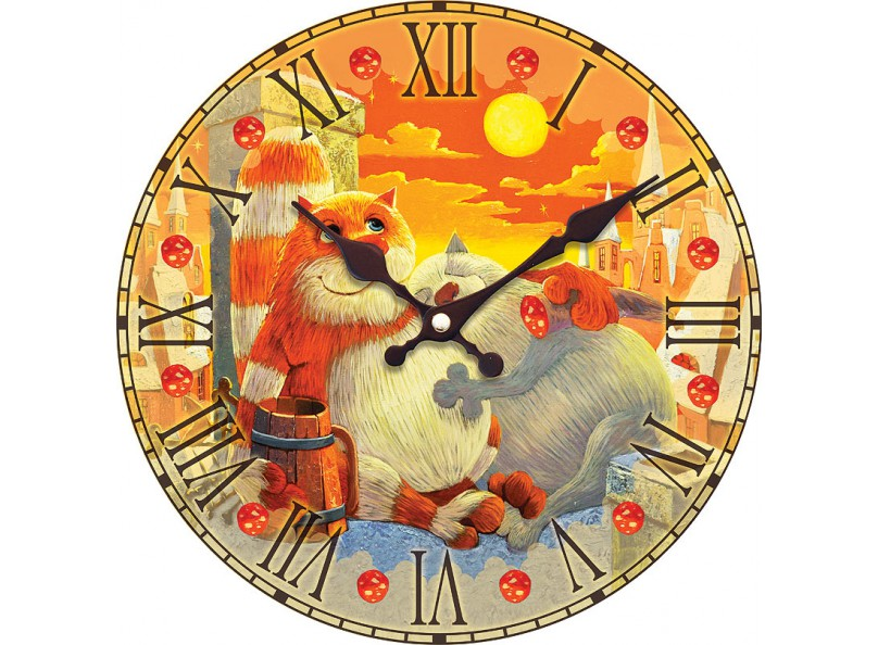 Часы настенные «Поздний ужин»Дизайнерские настенные часы<br><br><br>Артикул: 010-CL<br>Размер: 34 см (диаметр)