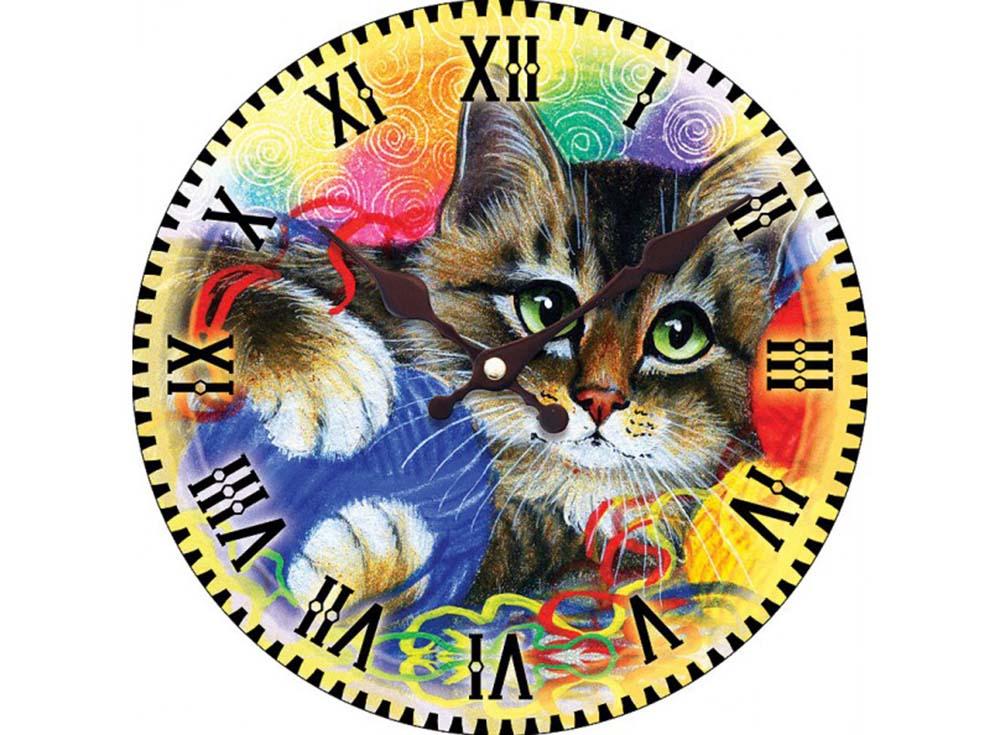 Часы настенные «Котик с клубочками»Дизайнерские настенные часы<br><br><br>Артикул: 014-CL<br>Размер: 34 см (диаметр)
