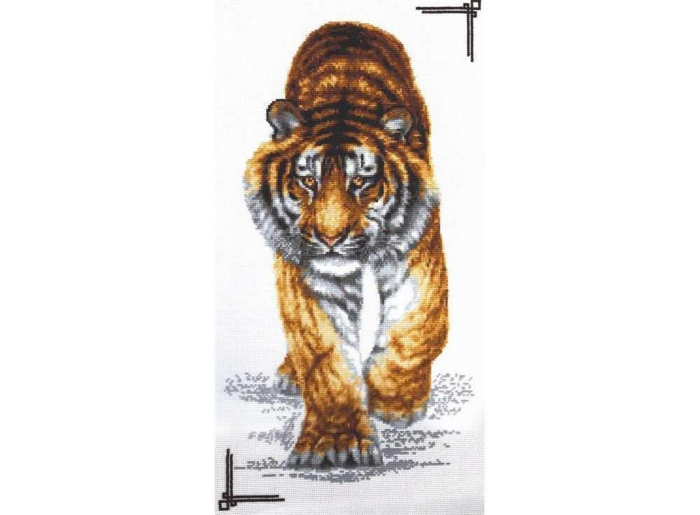 Набор для вышивания «Поступь тигра»Вышивка крестом Палитра<br><br><br>Артикул: 02.002<br>Основа: канва Aida 16<br>Размер: 25х47 см<br>Техника вышивки: счетный крест<br>Тип схемы вышивки: Цветная схема<br>Цвет канвы: Белый<br>Количество цветов: 20<br>Рисунок на канве: не нанесён<br>Техника: Вышивка крестом