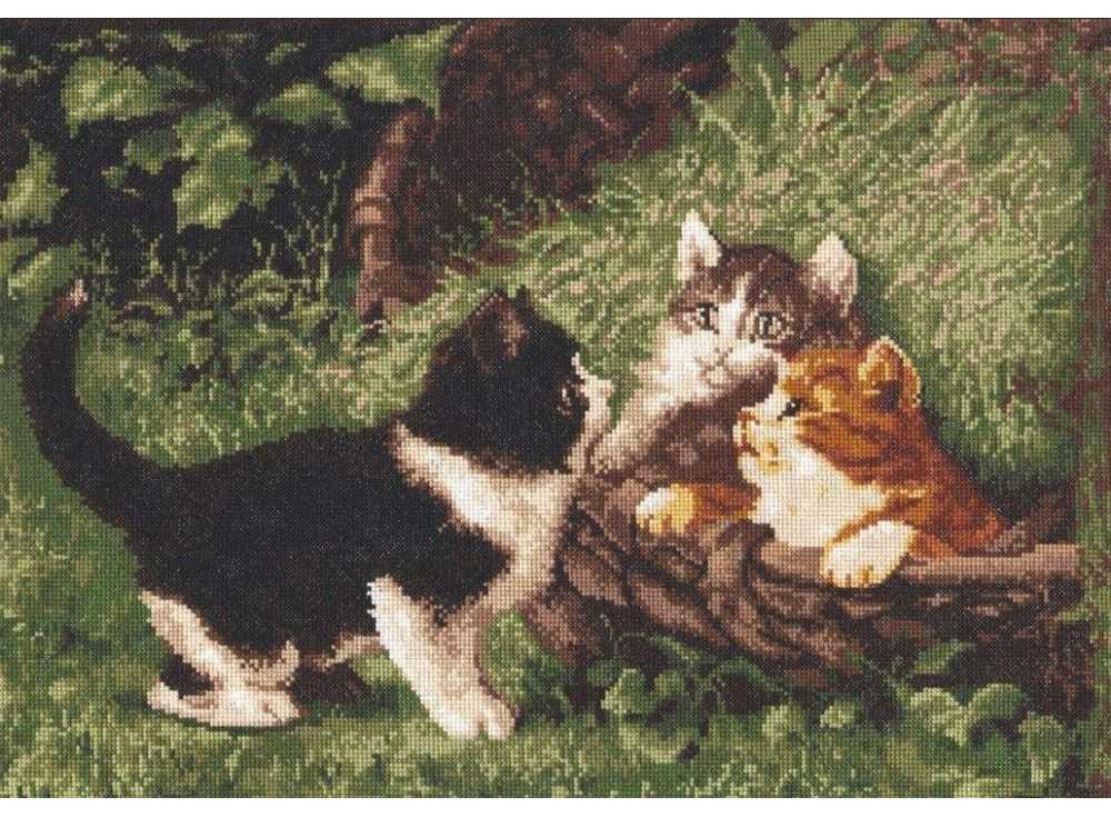 Набор для вышивания «Котята в корзине»Вышивка крестом Палитра<br><br><br>Артикул: 07.001<br>Основа: канва Aida 16<br>Размер: 39х27 см<br>Техника вышивки: счетный крест<br>Тип схемы вышивки: Цветная схема<br>Цвет канвы: Белый<br>Количество цветов: 19<br>Рисунок на канве: не нанесён<br>Техника: Вышивка крестом