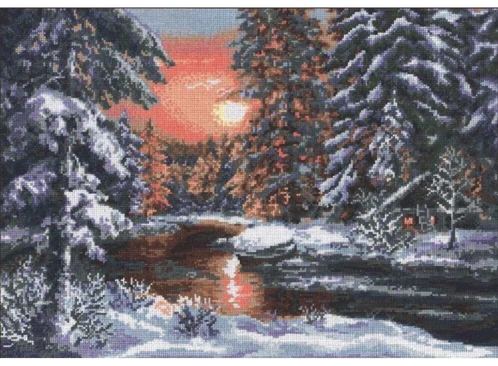 Набор для вышивания «Зимний вечер»Вышивка крестом Палитра<br><br><br>Артикул: 08.001<br>Основа: канва Aida 16<br>Размер: 39х28 см<br>Техника вышивки: счетный крест<br>Тип схемы вышивки: Цветная схема<br>Цвет канвы: Белый<br>Количество цветов: 24<br>Рисунок на канве: не нанесён<br>Техника: Вышивка крестом