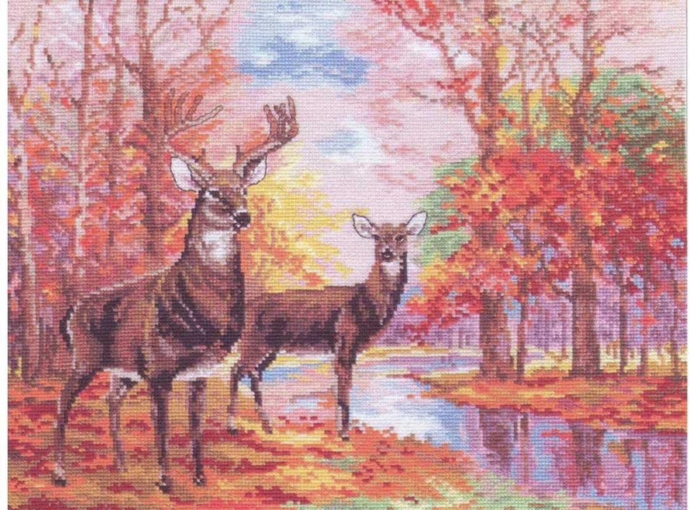 Набор для вышивания «Олени в осеннем лесу»Вышивка крестом Алиса<br><br><br>Артикул: 1-09<br>Основа: канва Aida 14 100% хлопок Gamma<br>Размер: 36х27 см<br>Тип схемы вышивки: Цветная схема<br>Цвет канвы: Белый<br>Количество цветов: 28<br>Рисунок на канве: не нанесён<br>Техника: Вышивка крестом<br>Нитки: мулине 100% хлопок Gamma