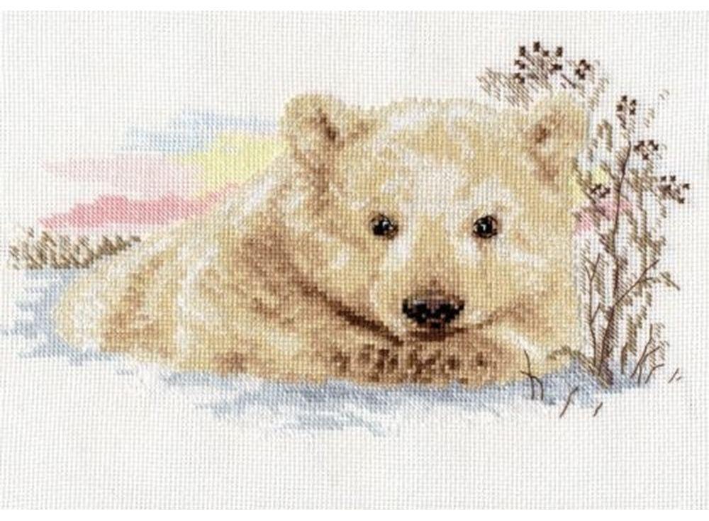 Набор для вышивания «Северный медвежонок»Вышивка крестом Алиса<br><br><br>Артикул: 1-19<br>Основа: канва Aida 14 100% хлопок Gamma<br>Размер: 27х16 см<br>Тип схемы вышивки: Цветная схема<br>Цвет канвы: Белый<br>Количество цветов: 17<br>Рисунок на канве: не нанесён<br>Техника: Вышивка крестом<br>Нитки: мулине 100% хлопок Gamma