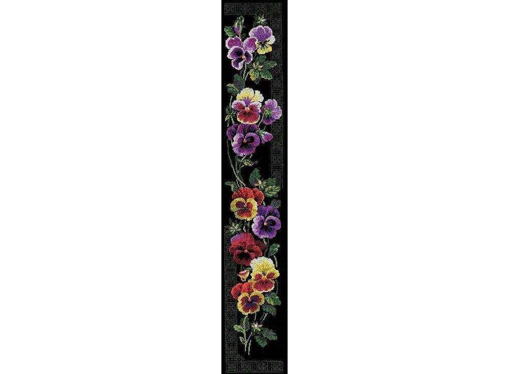 Набор для вышивания «Анютины глазки»Вышивка крестом Риолис<br><br><br>Артикул: 100/011<br>Основа: канва 14 Aida Zweigart<br>Размер: 20х105 см<br>Техника вышивки: счетный крест<br>Серия: Риолис (Premium)<br>Тип схемы вышивки: Цветная схема<br>Цвет канвы: Черный<br>Количество цветов: 18<br>Рисунок на канве: не нанесён<br>Техника: Вышивка крестом<br>Нитки: мулине Anchor