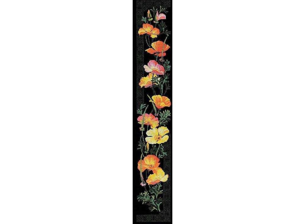 Набор для вышивания «Калифорнийский мак»Вышивка крестом Риолис<br><br><br>Артикул: 100/012<br>Основа: канва 14 Aida Zweigart<br>Размер: 20х105 см<br>Техника вышивки: счетный крест<br>Серия: Риолис (Premium)<br>Тип схемы вышивки: Цветная схема<br>Цвет канвы: Черный<br>Количество цветов: 14<br>Рисунок на канве: не нанесён<br>Техника: Вышивка крестом<br>Нитки: мулине Anchor